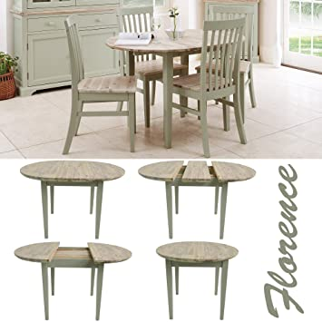 Florence round extending table. Round kitchen table in Sage green