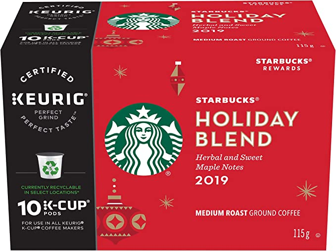 Starbucks Holiday Blend K Cup Coffee 10 Count