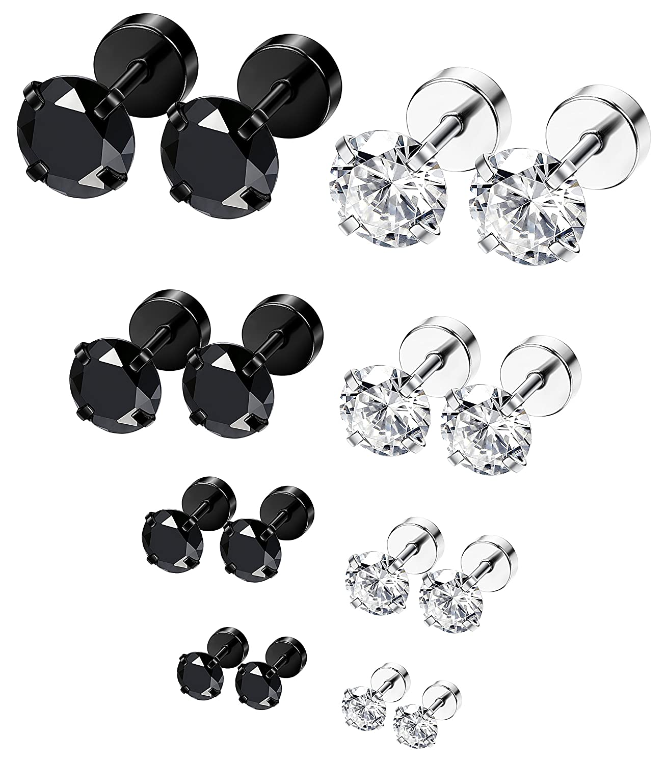 ORAZIO 8 Pairs 18G Stainless Steel Ear Stud Piercing Barbell Studs Earrings Round Cubic Zirconia Inlaid EH13-8F