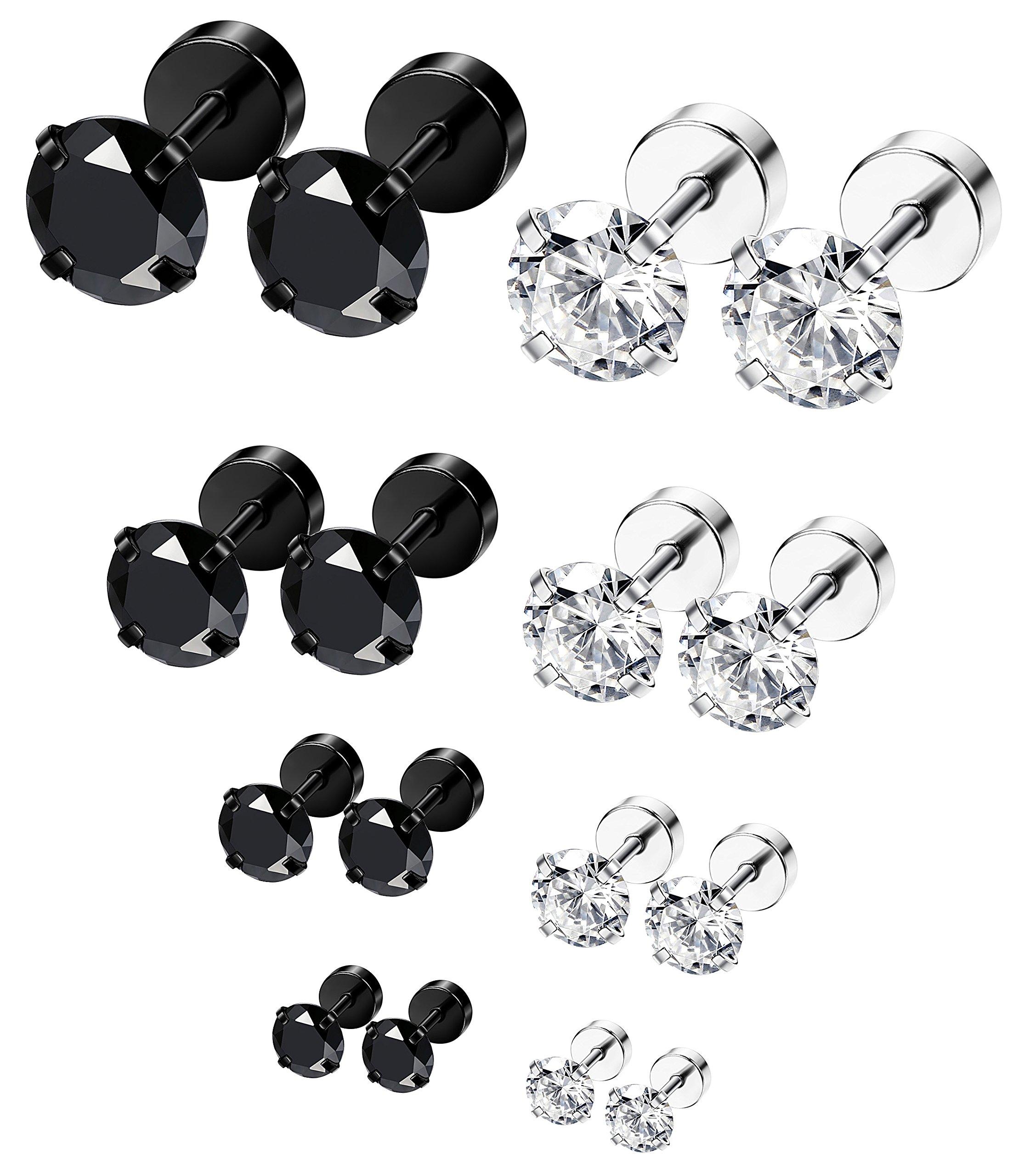 ORAZIO 8 Pairs 18G Stainless Steel Ear Stud Piercing Barbell Studs Earrings Round Cubic Zirconia Inlaid