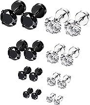 ORAZIO 6-8 Pairs 18G Stainless Steel Ear Stud Piercing Barbell Studs Earrings Round Cubic Zirconia Inlaid