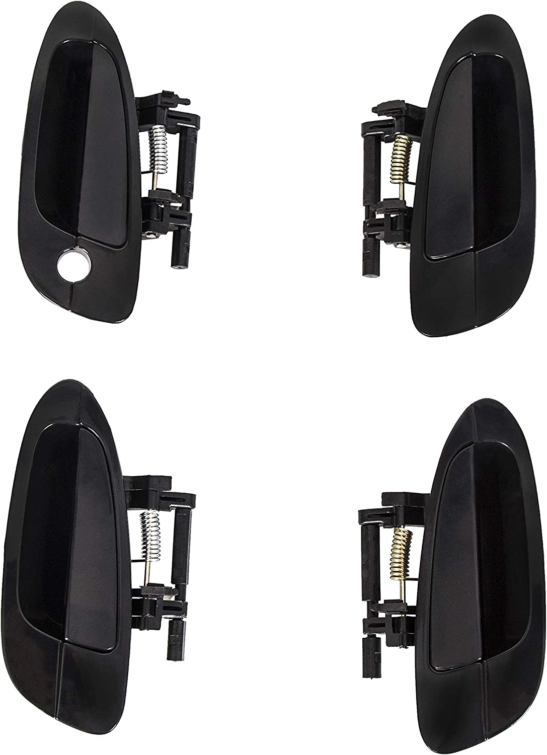 ECOTRIC Door Handle Smooth Black Exterior Outside For 2002-2006 Nissan Altima Front Left /& Right + Rear Left /& Right