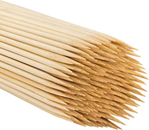 MILEKE Natural BBQ Stick, Strong Bamboo Skewers for Grilling, Φ4.5mm/12 inches Long, Pack of 200