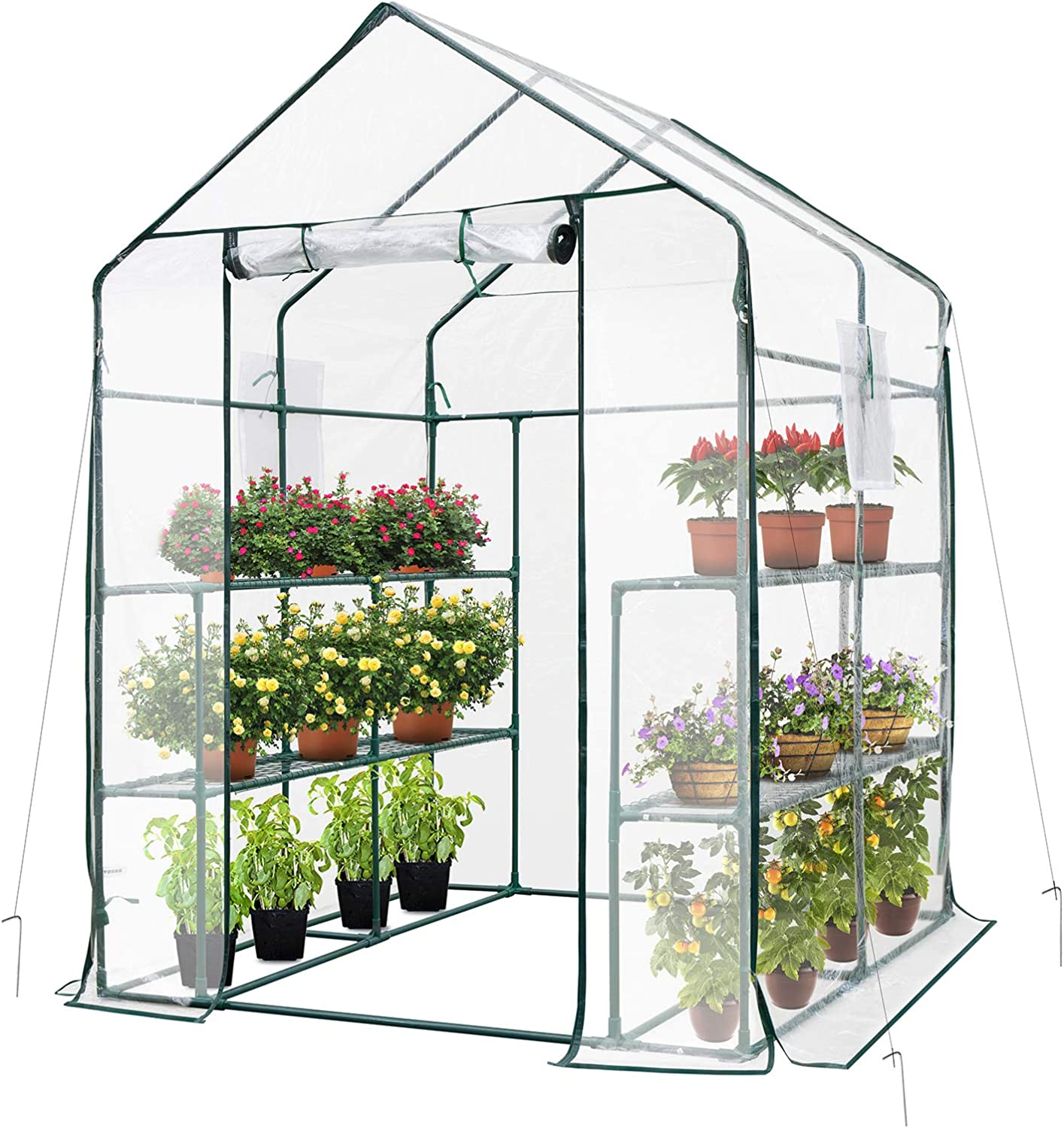 VIVOSUN 57x57x77-Inch Transparent Walk-in Green House with Window and Anchor Plant Garden Hot House 2 Tiers 8 Shelves