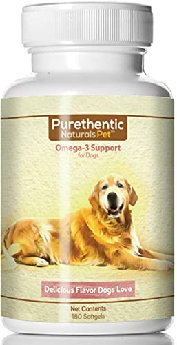 Omega 3 for Dogs, Fish Oil for Dogs 180 Softgels Pure Natural Fatty Acids. High EPA and DHA Helps Dog Allergies Brain Function Made in USA