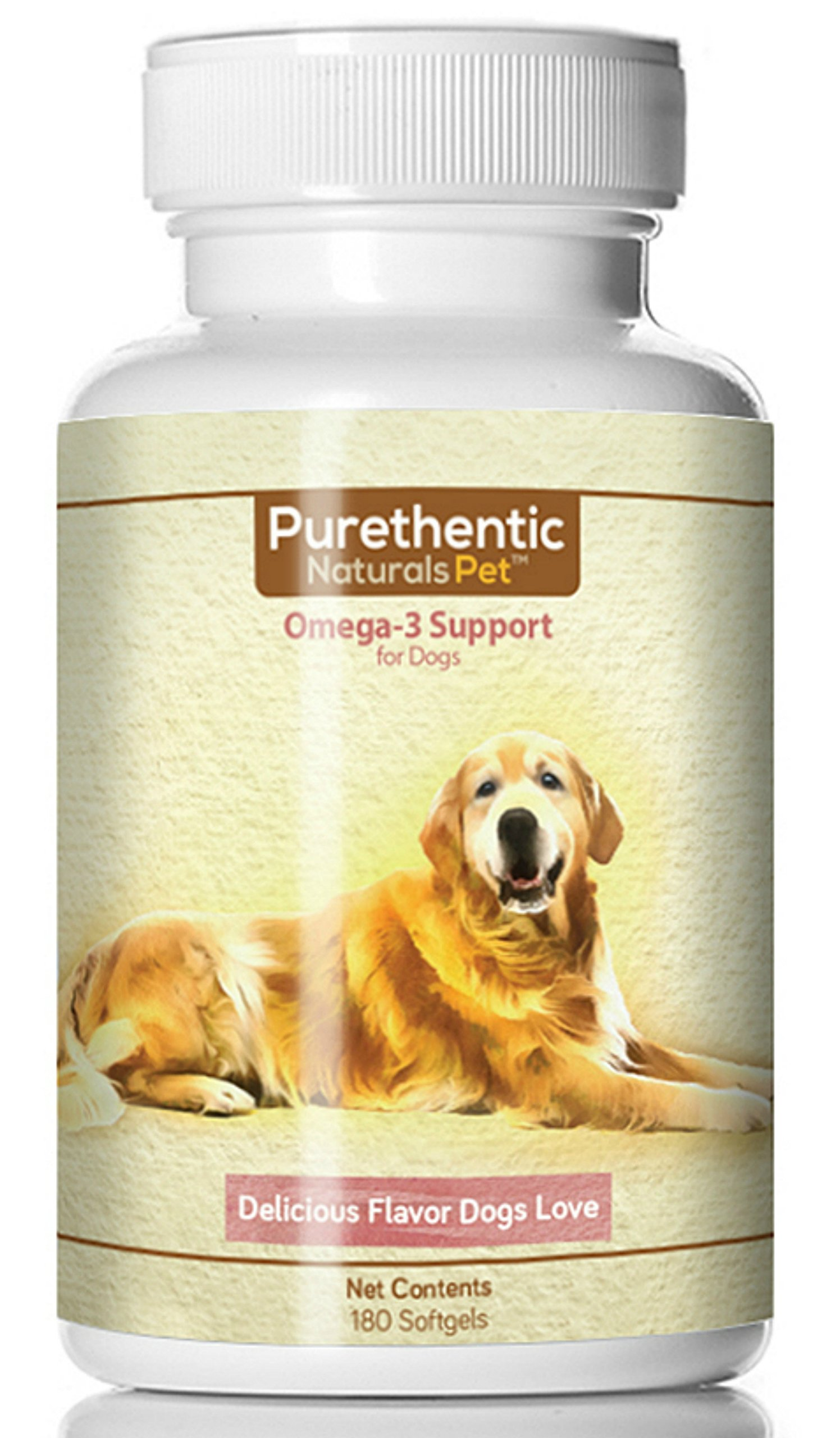 Omega 3 for Dogs, Fish Oil for Dogs 180 Softgels Pure & Natural Fatty Acids. (High EPA and DHA) (Helps Dog Allergies & Brain Function) Made in USA (Pack of 2) by Purethentic Naturals