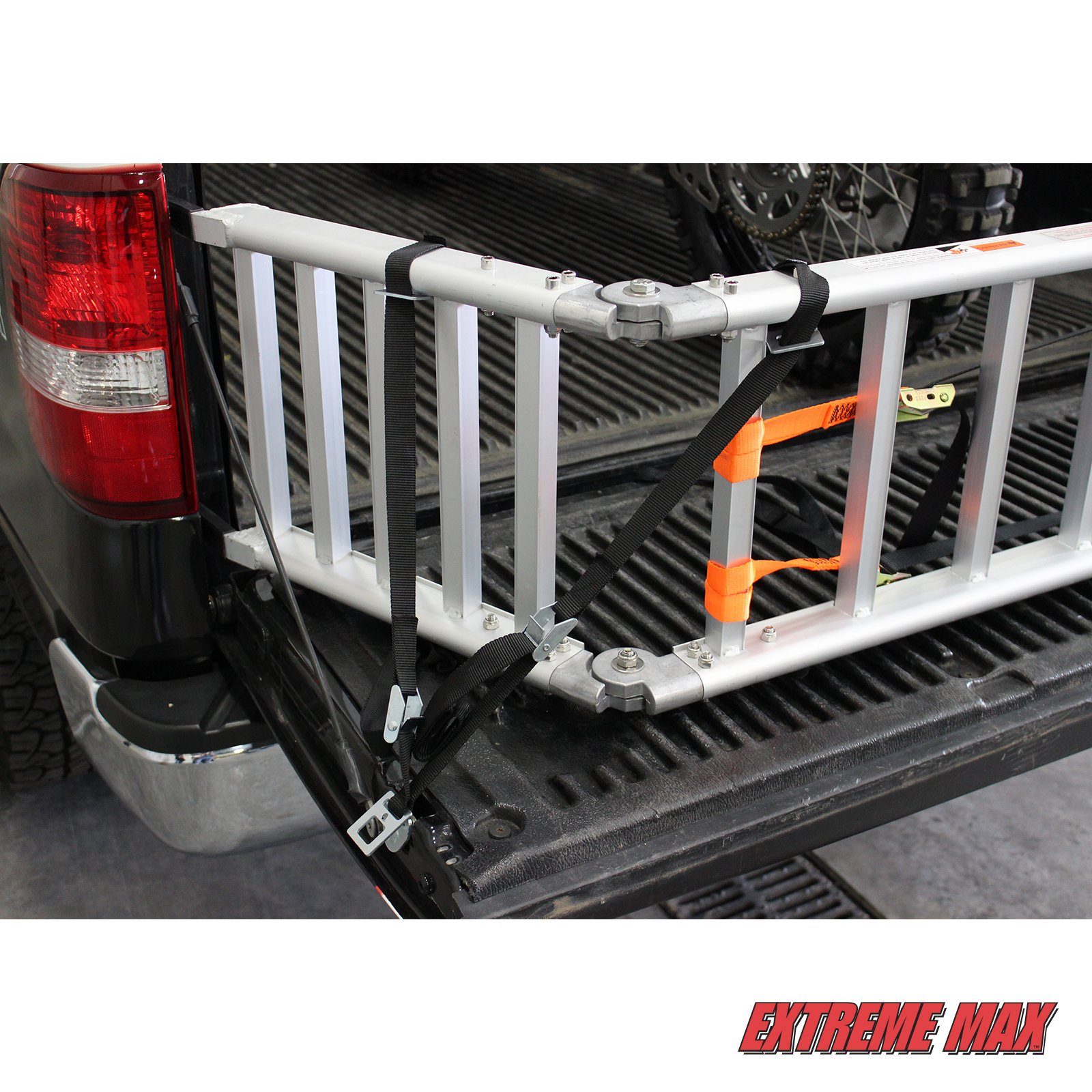 Extreme Max (NR002S-SLVR) Motorcycle RampXtender Aluminum Ramp Set and Tailgate Extender Combo by Extreme Max (Image #4)