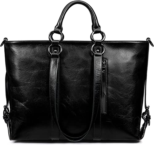 S-ZONE Women Genuine Leather Work Tote Shoulder Messenger Bag Fit