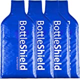 4 Pack Reusable Wine Protector Travel Bag by Bottle Shield - Bubble Cushioning Wrap Suit | Unbreakable Bottle Sleeve, Leak Proof - Wine Tote Bags Accessory for Suitcase Luggage