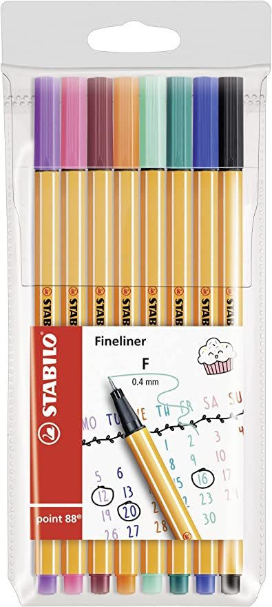 Fineliner – STABILO point 88 – My STABILO Journal – 8 Pack – 8 ...