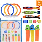 Browill [14 Pack] Diving Toys Set with Net Bag, Pool Toys for Kids & Swim Toys, Great Gifts &Toys for Boys and Girls, Ages 3,