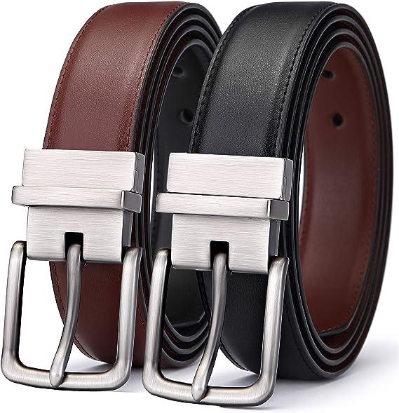 Homme Cuir Véritable Haute Qualité Élégant 35 mm Ceinture formelle Black /& tan
