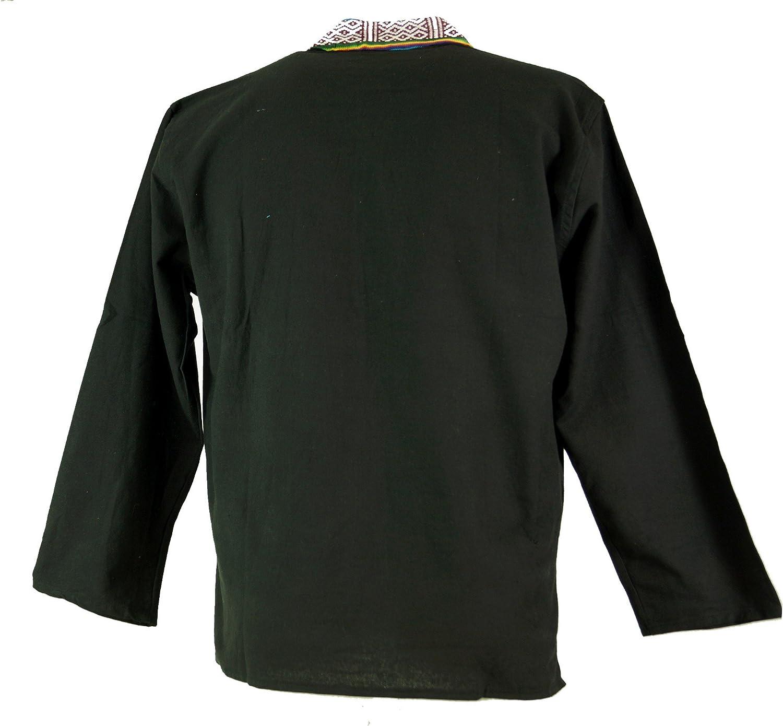 Dimensione Indumenti:M Camicia Goa Camicia Nepal Ethno Fisherman Nero Camicie da Uomo GURU-SHOP Cotone