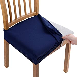 Smiry Stretch Jacquard Chair Seat Covers for Dining Room, Removable Washable Anti-Dust Chair Seat Protector Slipcovers - Set of 4, Navy Blue
