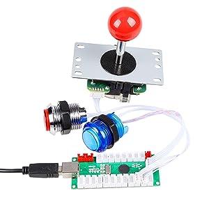 EG STARTS 4 Player LED Arcade DIY Kit for USB MAME PC Game DIY & Raspberry Pi Retro Controller DIY Including 4x Arcade Joystick, 40x LED Chrome Arcade Buttons 4x Zero Delay USB Encoder
