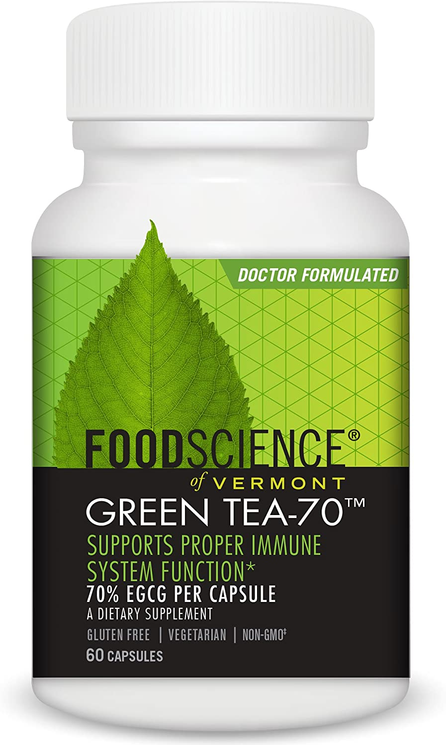 Food Science Of Vermont Green Tea-70 Capsules, 60 Count