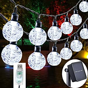 Sakruda Solar String Lights 60LEDS 37FT,Solar or USB Powered,Waterproof Crystal Balls with 8 Lighting Modes,Outdoor Garden Fairy Light for Patio Lawn,Home,Wedding Party,Christmas Decoration(White)