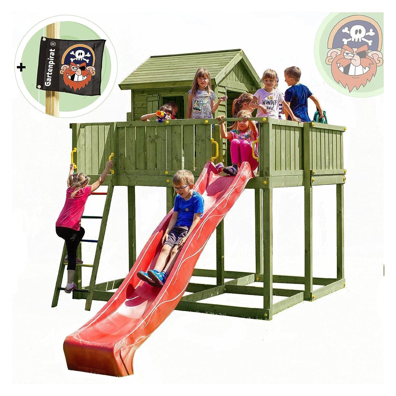 Stelzenhaus Baumhaus aus Holz mit Rutsche Gartenhaus Space XL von Gartenpirat®