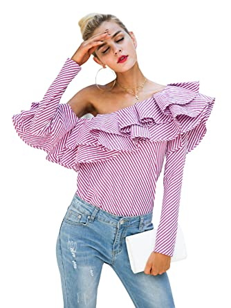 fc4b562f9a Simplee Women s Off Shoulder Ruffle Long Sleeve Striped Blouse Shirt  Tops