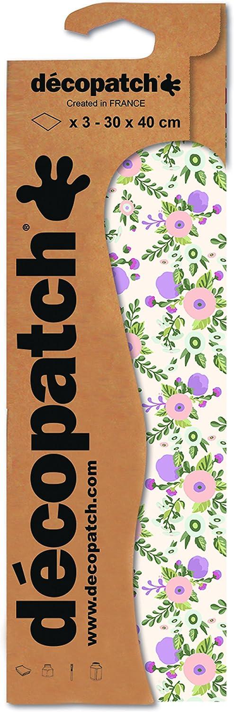 3er Pack Decopatch Papier No 717 pink bunt wei/ß Streubl/ümchen, 395 x 298 mm