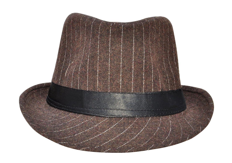 Amazon.com : Brown Retro Costumes Daywear Pinstripe 50S 60S Trilby Fedora Trilby Hat Wool Jazz Hat : Sports & Outdoors
