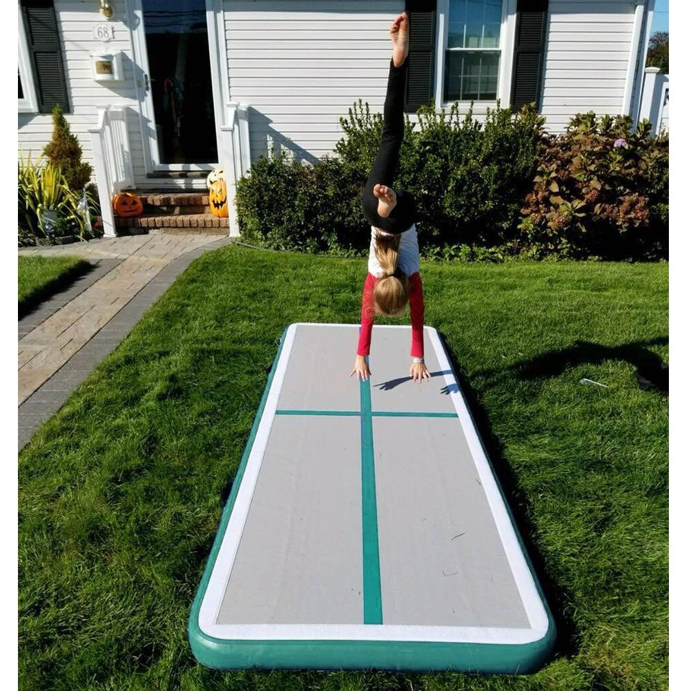 Light Green thick length x 3.3 ft Inflatable Gymnastics Air Track Tumbling Mat Air Floor Mats with Pump for Home Use//Training//Cheer leading//Beach//Park and Water Length 9.8 ft wide x 0.33 ft