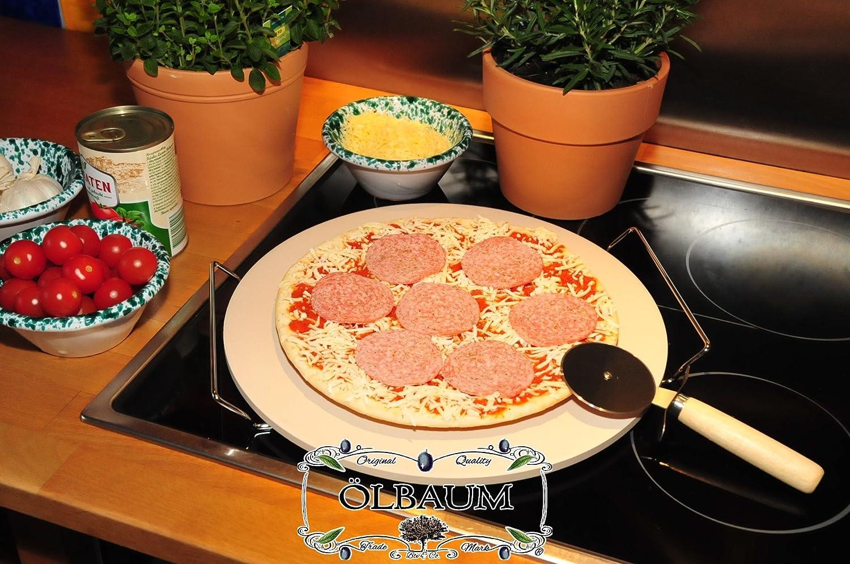 6 Massive aprox. 2 kg Pizza piedras, piedra caliente térmico de sonido completo con cromado Equipos, tamaño aprox. 33 cm x 12 mm (Diámetro x grosor) 35 cm ...