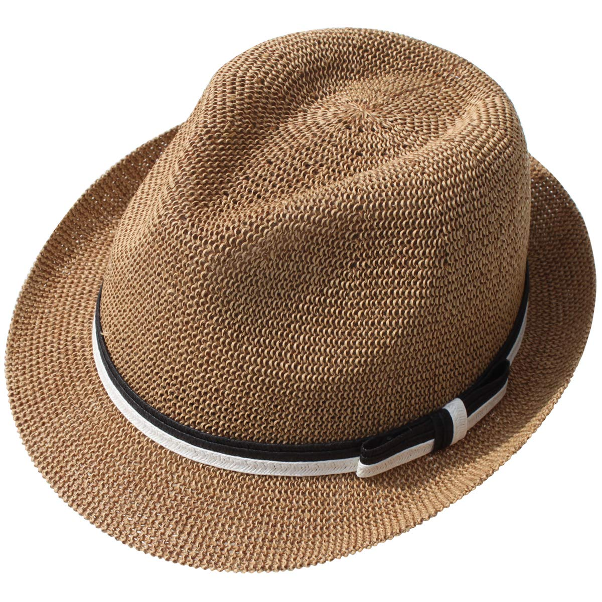 Lanzom Men Summer Breathable Fedora Hat Short Brim Beach Sun Hat