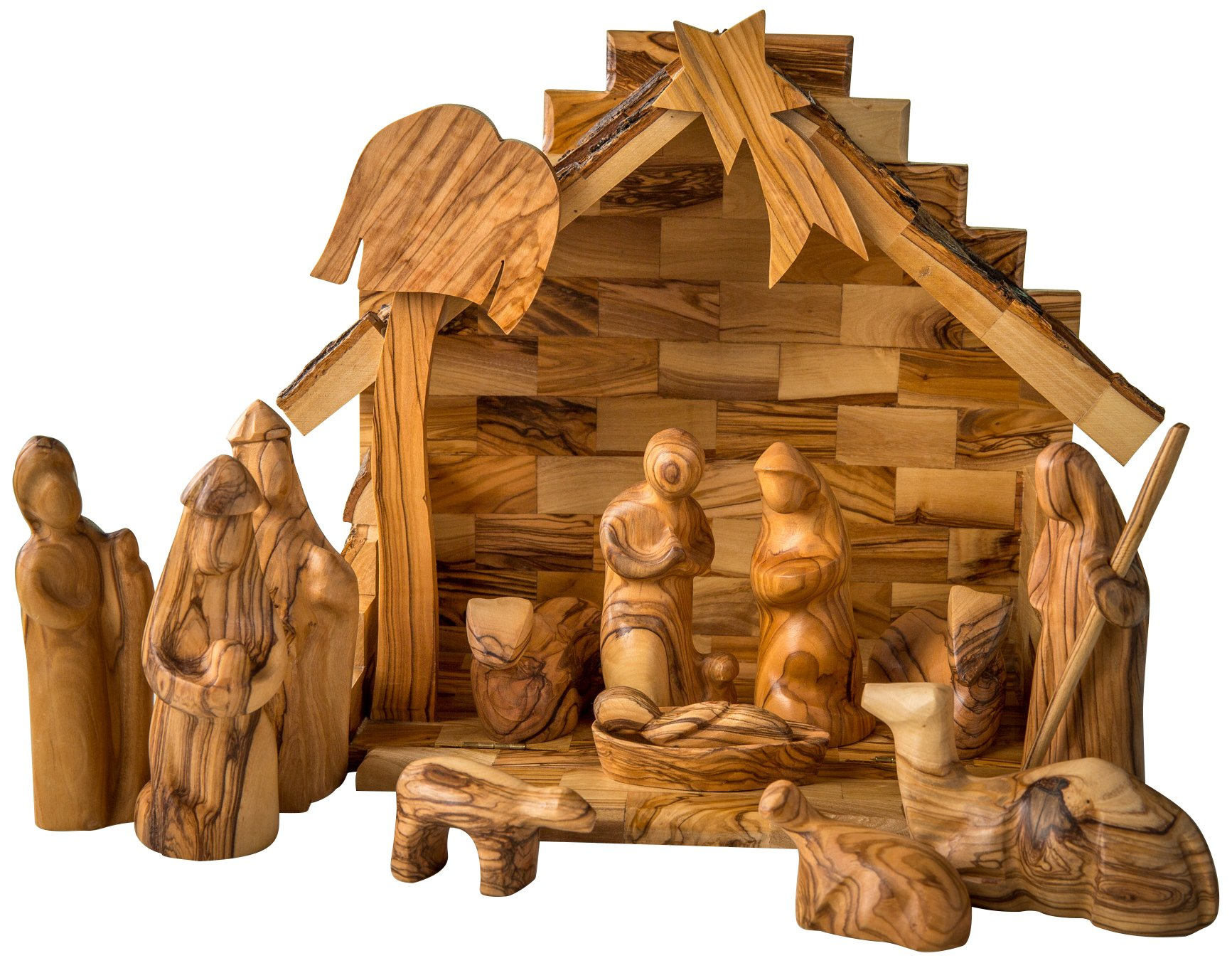 Earthwood Olive Wood Stable and Nativity Set with Modern Figures by Earthwood