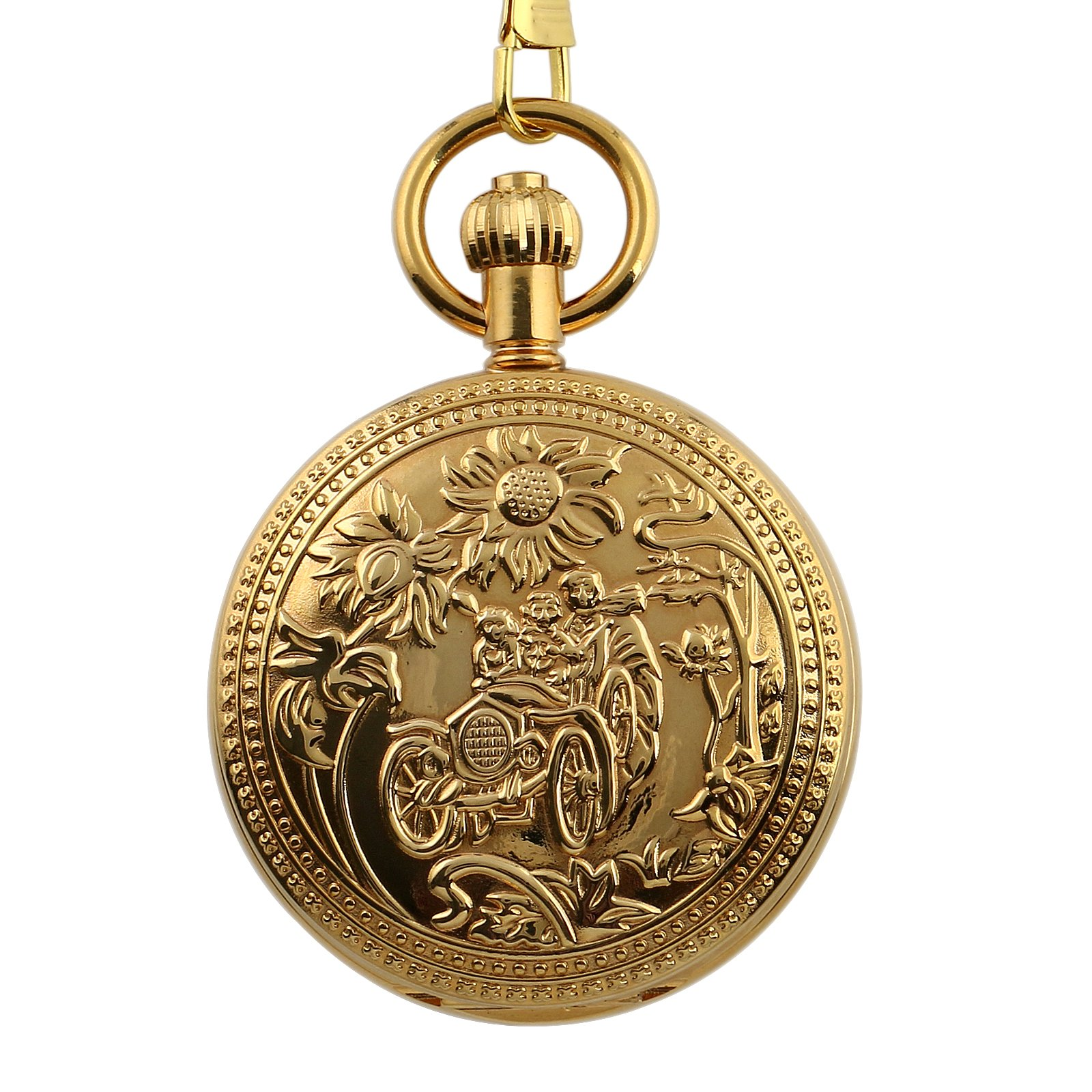 Hand-Winding Mechanical Tourbillon Cage Gold Pocket Watch Chain Pendant