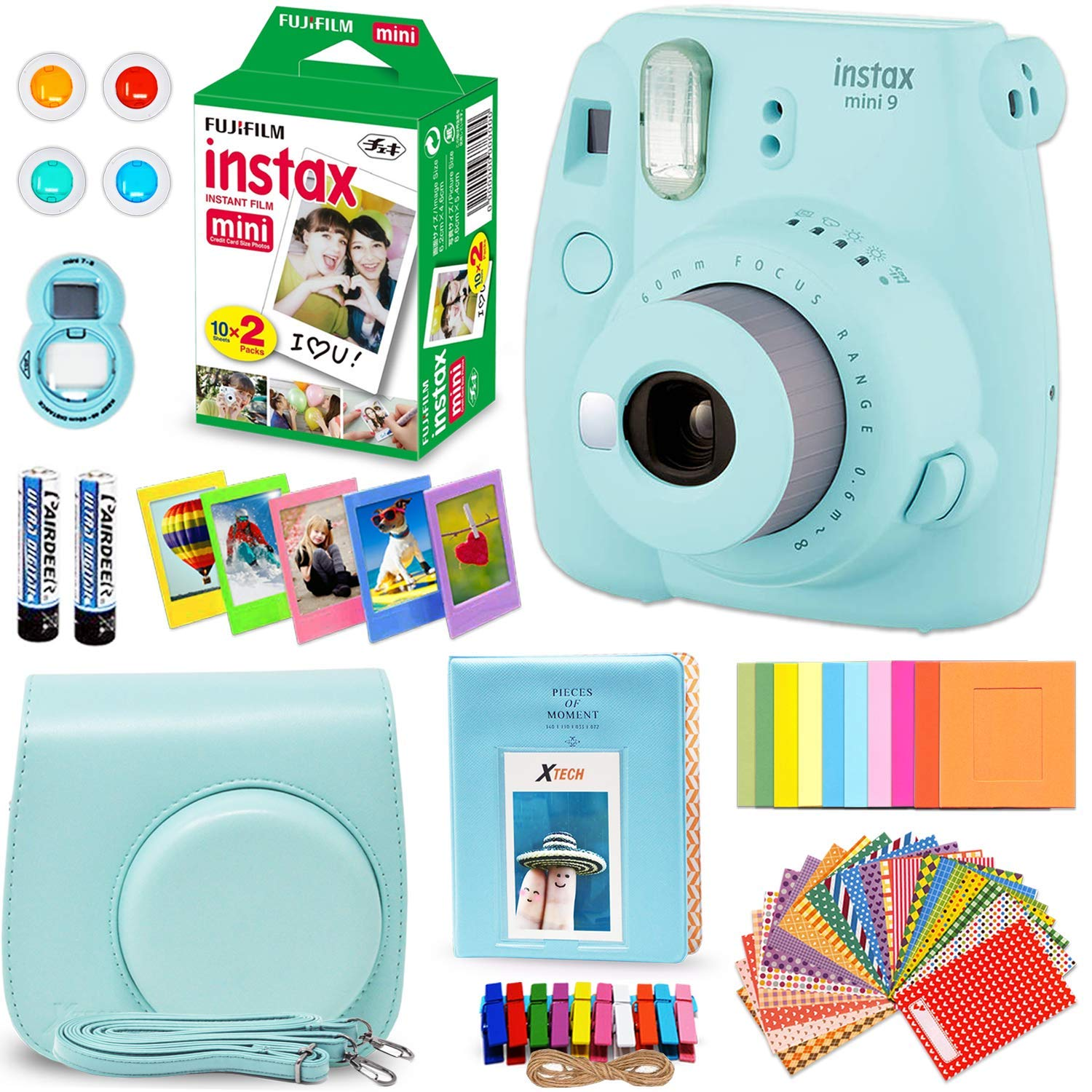Fujifilm instax mini 9 instant camera ice blue fuji instax film 20 sheets custom camera case instax album 60 colorful stickers 20 emoji stickers