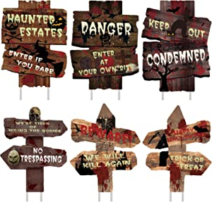 anroog Halloween Decorations 6 Pack Yard Signs Stakes Beware Props Halloween Outdoor Decor Bloody Scary Zombie Vampire Graves Holiday Supplies (6 Pack 12