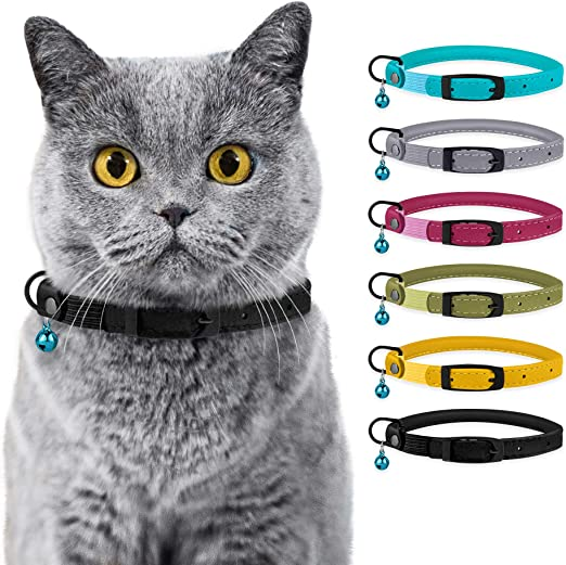 BRONZEDOG Cat Collar with Bell Safety Rolled Leather Collars for Cats Kitten Black Blue Pink Green Yellow Grey