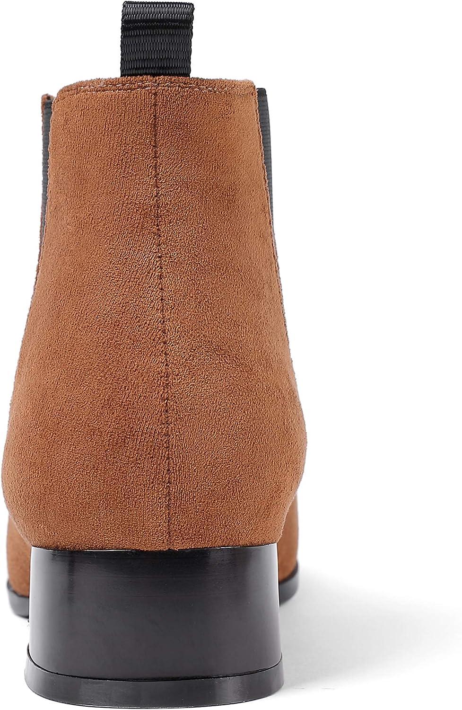 Damen Winterstiefeletten Closed Toe Zipper Mittlere Absätze Kurze Flache Stiefeletten Mit 3.5CM Blockabsatz Wildleder Braun