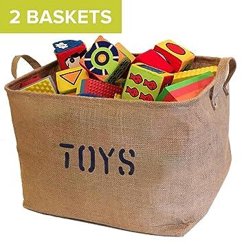 Bon 2 Jute Toys Storage Bins 17 Inches Long Storage Baskets, Storage Basket For  Organizing Baby