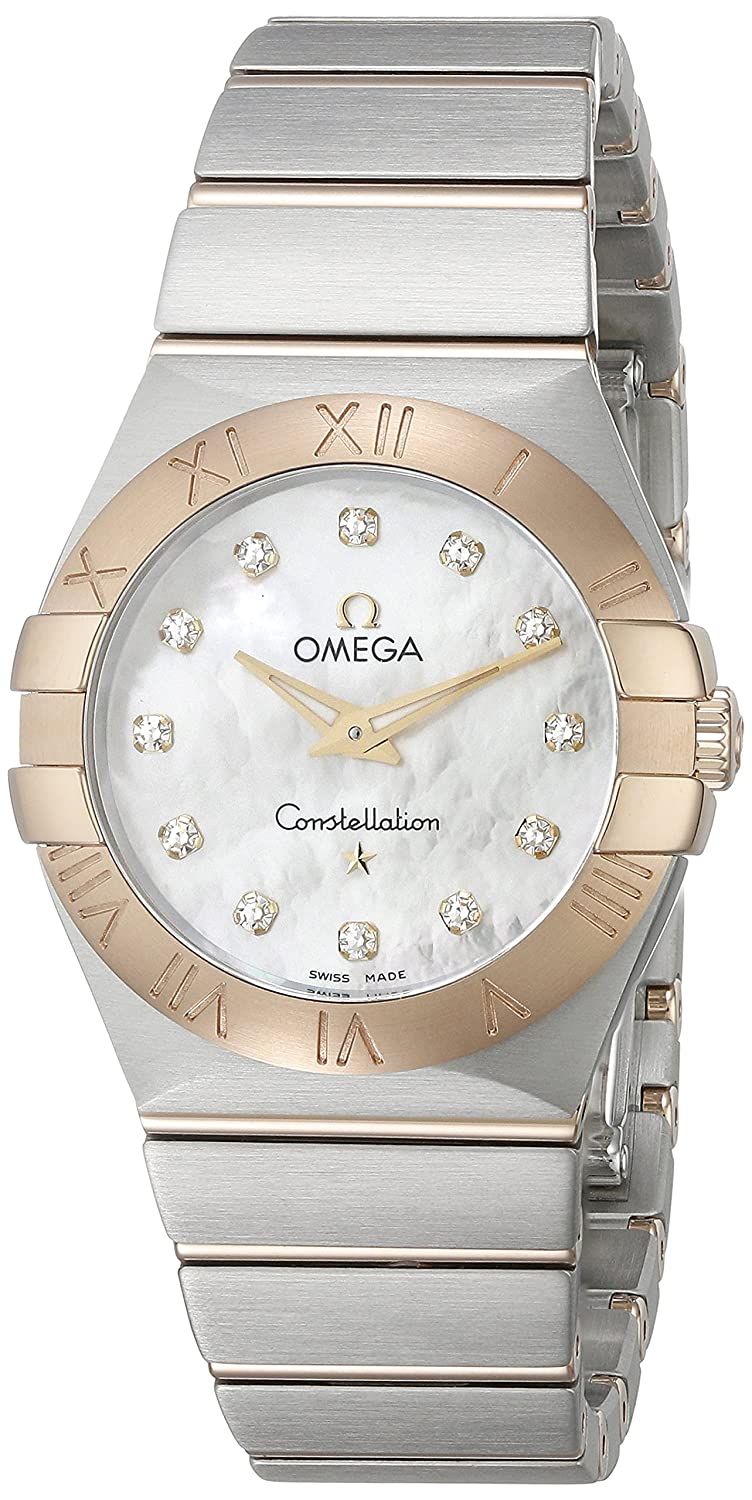 a5af659a65b Amazon.com  Omega Women s 12320276055002 Constellation Diamond-Accented  Stainless Steel and 18k Gold Watch  Watches
