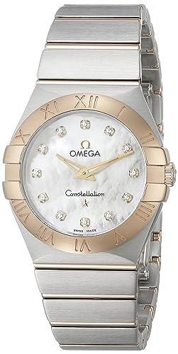 Omega Constellation de la mujer 27 mm caja de acero cuarzo reloj 123.20.27.60.55.002: Amazon.es: Relojes