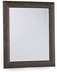 Simpli Home Maya 29 inch x 25 inch Rectangle Transitional Décor Mirror in Antique Bronze