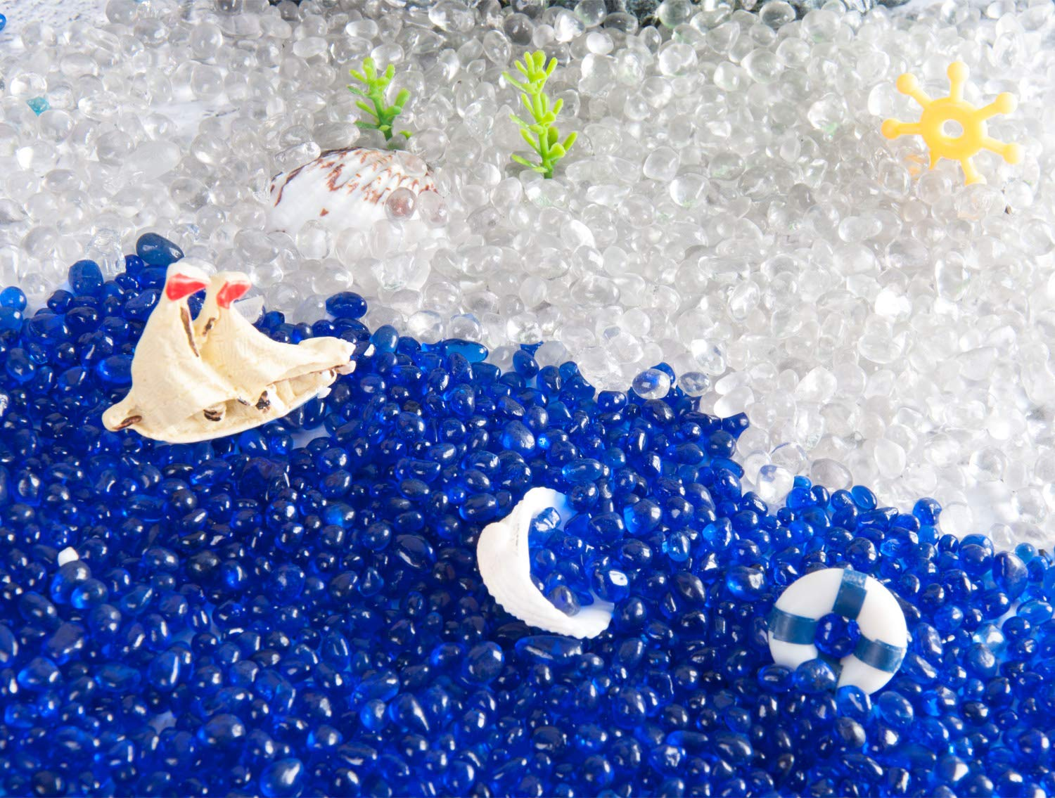 Crystal Rocks Party Table Scatter Joyclub Blue Flat Marbles Pebbles 1 lbs Landscaping Aquarium Decor Approx 100 pcs Wedding Decoration Glass Gems for Vase Fillers