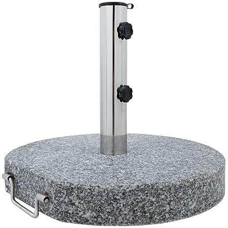 Soporte para sombrilla en granito con mango de acero inoxidable, 30 kg redondo Ø 45
