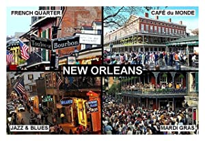 SOUVENIR FRIDGE MAGNET - NEW ORLEANS LOUISIANA USA 3½ x 2½ inches Jumbo