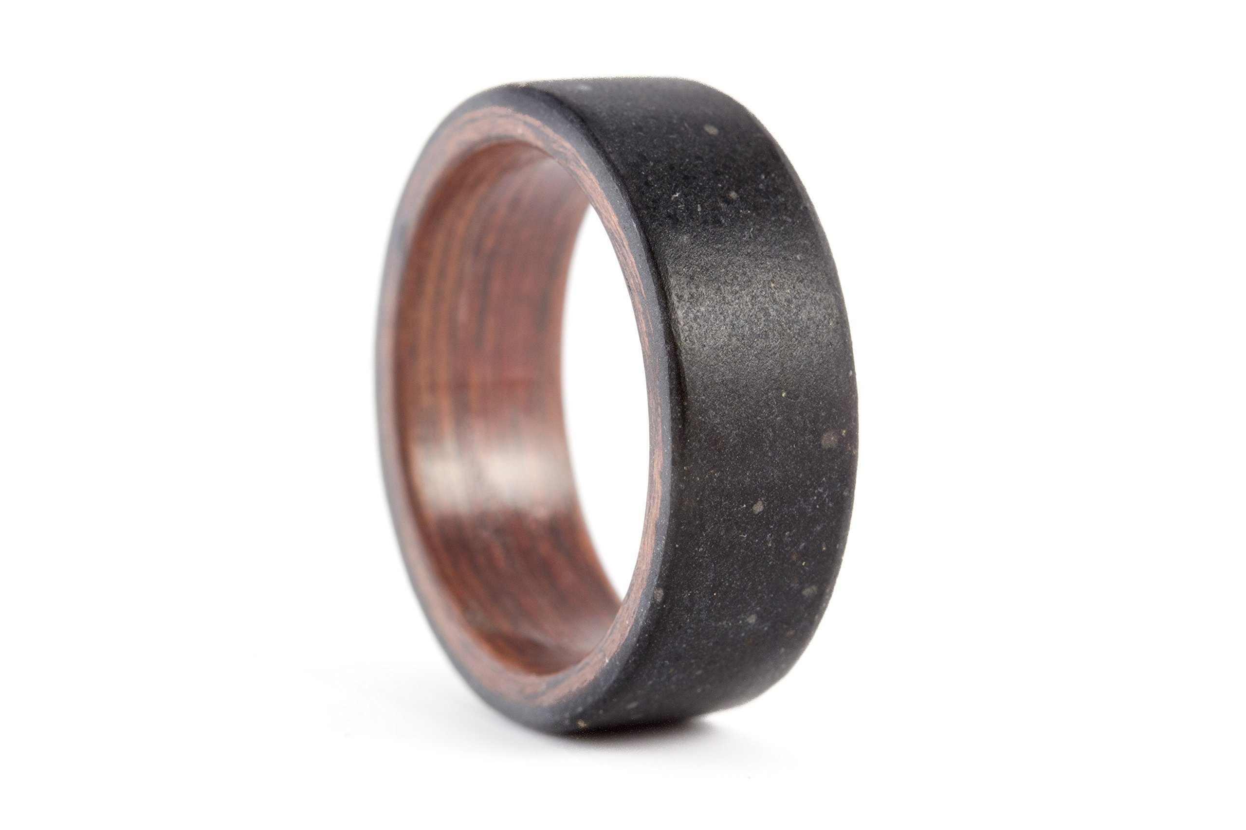 Men's black concrete and wenge wood ring. Industrial wooden wedding band. Water resistant, very durable and hypoallergenic (00902_8N)