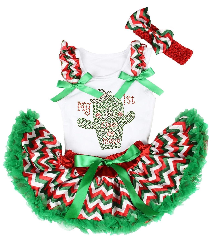 Petitebella My 1st Cinco de Mayo White Shirt RGW Chevron Skirt Outfit 3-12m Green White NS234