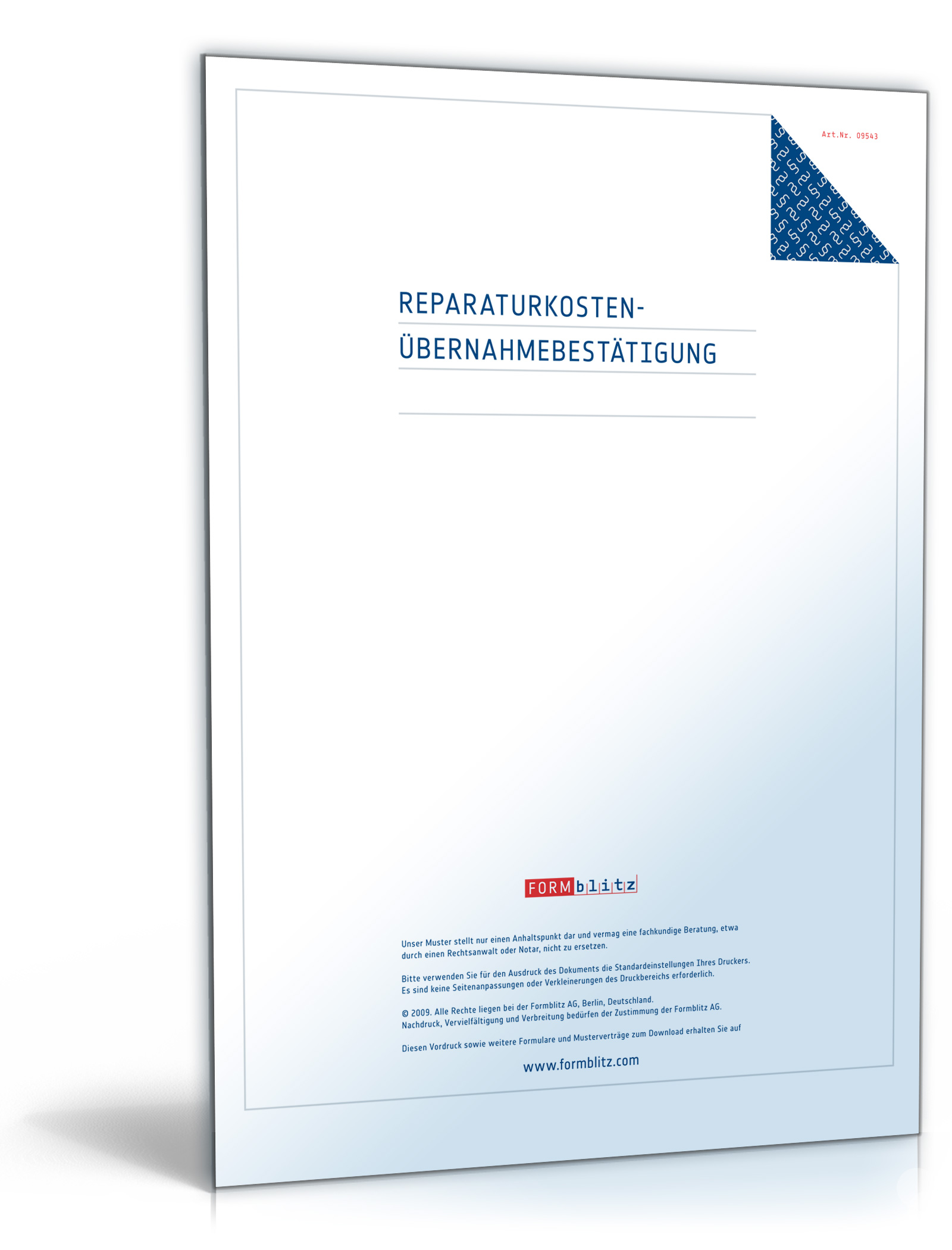Reparaturkosten Übernahmebestätigung [PDF Download]: Amazon.de: Software