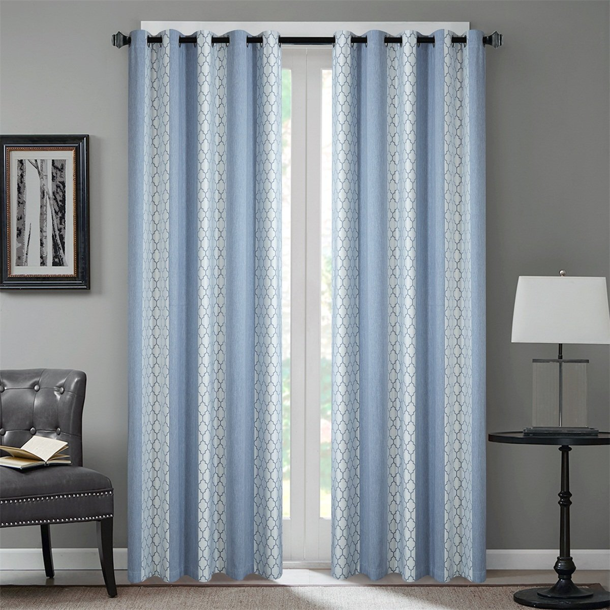 Dreaming Casa Room Darkening Extra Wide Window Curtains Grommet Top Window Treatment Moroccan Print Blackout Curtain for Bedroom Living Room Blue 63 Inches Long 100'' W x 63'' L (2 Panels)