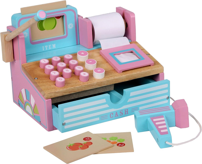 Siva Toys 269265 - Caja registradora de Madera, Color Rosa y Azul ...