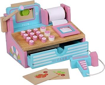 Siva Toys 269265 - Caja registradora de Madera, Color Rosa y Azul Claro: Amazon.es: Juguetes y juegos