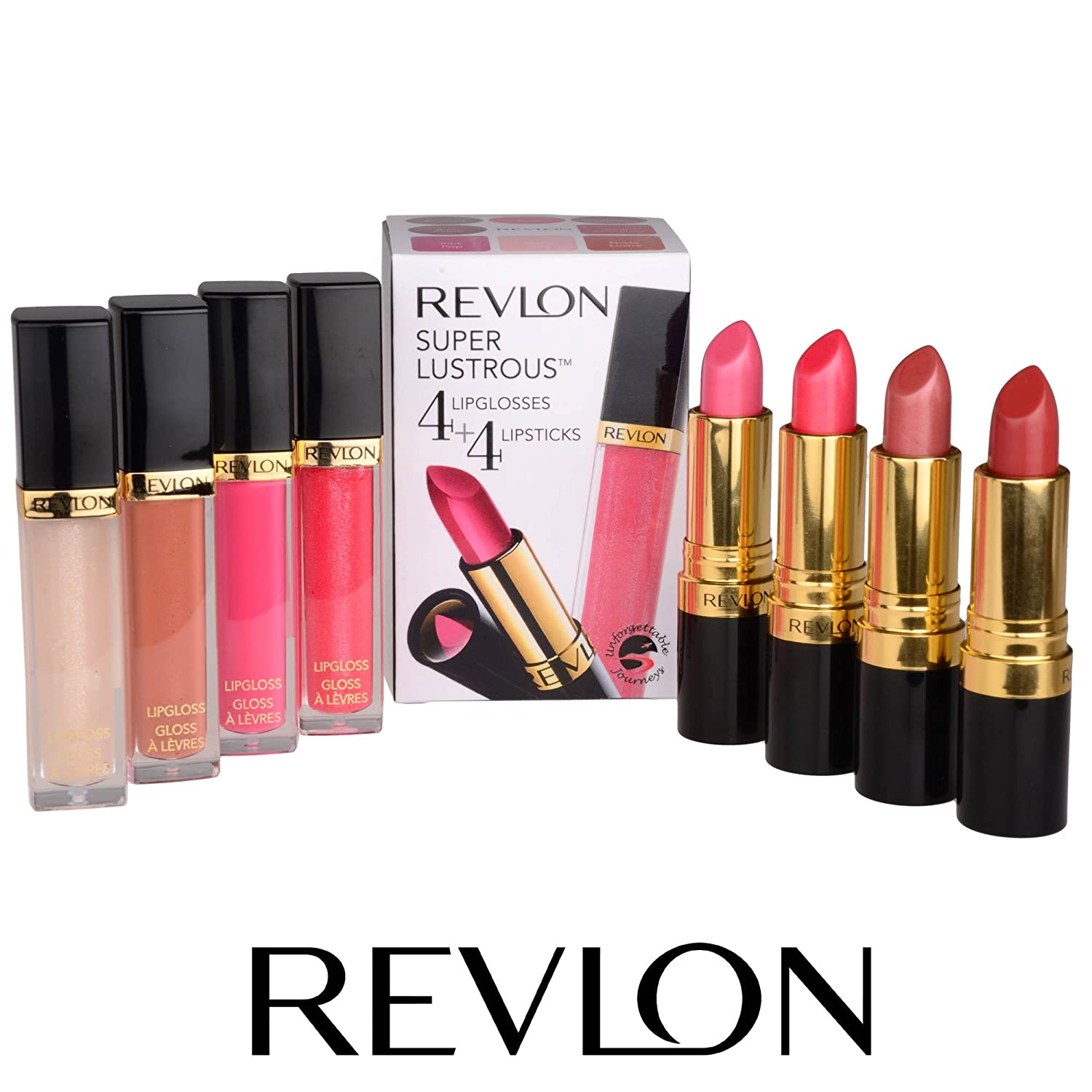 Revlon Super Lustrous 4 Lipgloss 5.9ml and 4 Lipstick 4.2g Ladies Makeup Set In Red Pink Nude Rose Shades REVLON-846004