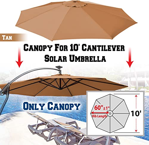 BenefitUSA Replacement Canopy Cover for 10 Cantilever Patio Umbrella Offest Parasol Top Cover Tan