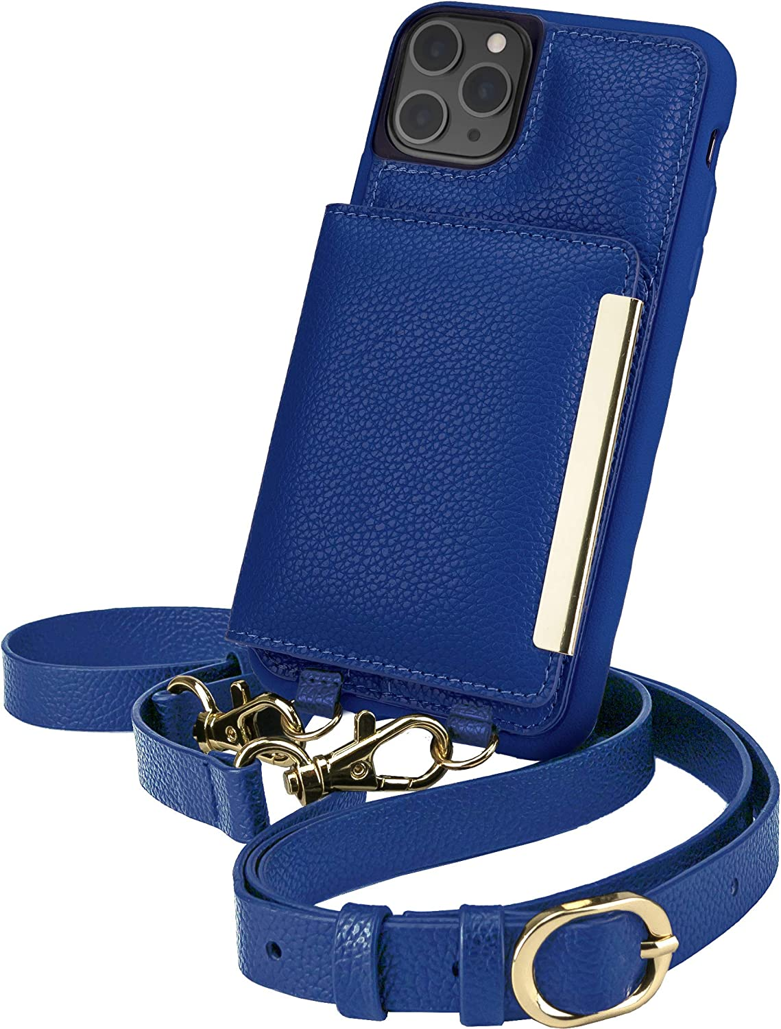 Smartish iPhone 11 Pro Max Crossbody Case - Dancing Queen [Purse/Clutch with Detachable Strap & Card Holder] - Bath Bomb Blue
